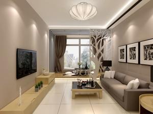 50平復式簡歐風格客廳燈帶吊頂裝修效果圖