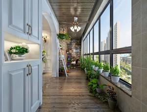 120平米田園風格三室兩廳開放式陽臺隔斷裝修效果圖