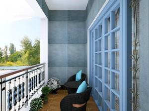 130平米地中海風格三室兩廳臥室陽臺隔斷門裝修效果圖