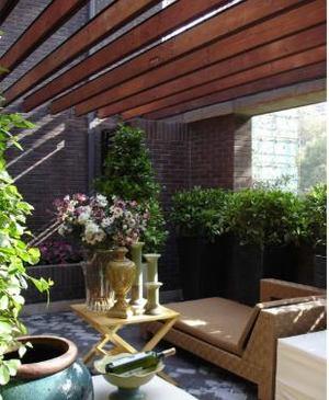 7平米中式陽臺小花園裝修效果圖
