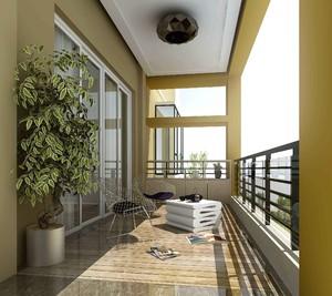 80平米現代客廳陽臺折疊推拉門效果圖