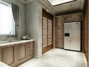 別墅中式廚房兩米陽臺推拉門裝修效果圖
