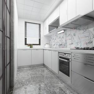 90平米現代輕奢廚房生活陽臺推拉門效果圖