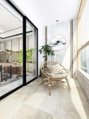 三居室新中式阳台推拉门效果图
