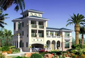 1000平欧式风格斜顶房屋设计效果图