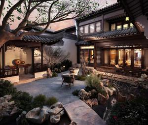 238平米公寓中式庭院花園陽臺裝修效果圖