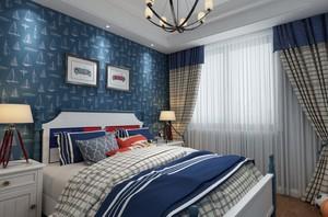 110平三居室地中海風格房屋壁紙裝修效果圖