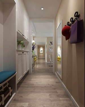 110平三居室现代北欧风格房屋过道betway必威体育app官网效果图