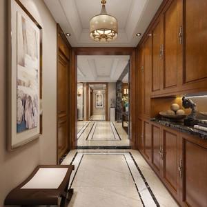 125平三居室美式風格房屋過道裝修效果圖