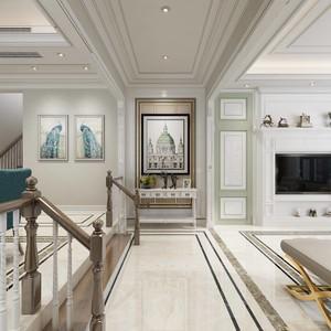 600平別墅美式輕奢風格房屋過道裝修效果圖