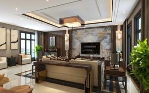 220平現代中式別墅電視墻裝修效果圖
