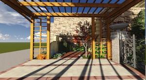 210平米小型新中式別墅庭院裝修效果圖
