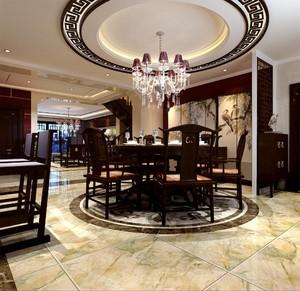 250平新中式別墅餐廳隔斷裝修效果圖
