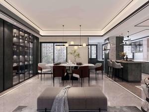 260平米新中式别墅餐厅酒柜装修效果图