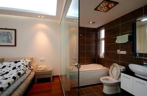260平方躍層別墅新中式主臥洗手間裝修效果圖