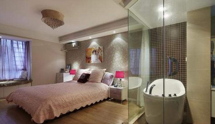80平米别墅新中式主卧洗手间装修效果图
