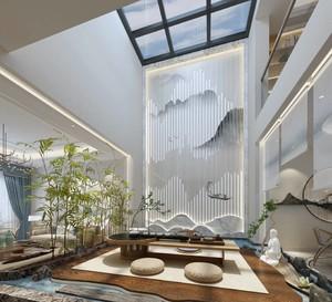 240平方新中式别墅进门玄关装修效果图