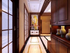 210平方新中式别墅客厅玄关装修效果图