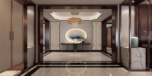 240平方新中式别墅客厅玄关装修效果图
