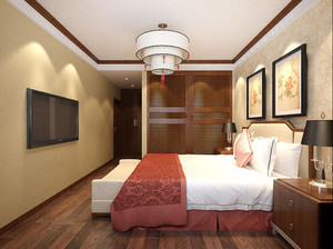 400平方別墅新中式臥室櫥柜裝修效果圖