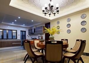 50平复式新中式别墅餐厅背景墙装修效果图