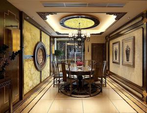 130平方别墅新中式别墅餐厅背景墙装修效果图