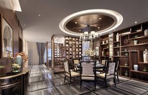 110平米新中式别墅大客厅吊顶装修效果图