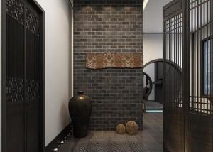 130平方别墅新中式玄关进门装修效果图