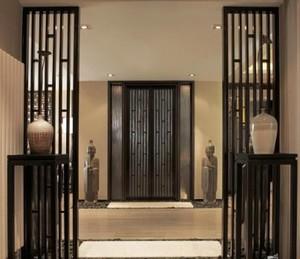 150平米别墅新中式玄关进门装修效果图