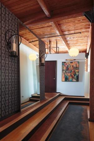 160平米别墅新中式玄关进门装修效果图