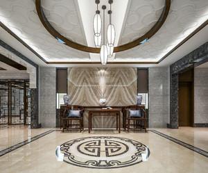 300平方别墅新中式玄关进门装修效果图
