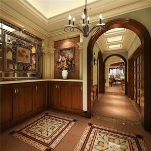 400平方别墅新中式玄关进门装修效果图
