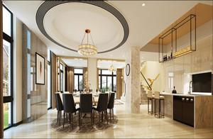 250平方别墅新中式圆形吊顶装修效果图