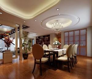 400平方别墅新中式圆形吊顶装修效果图