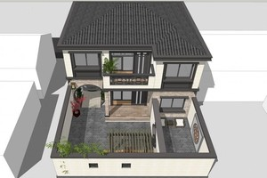 農村新中式二層別墅外觀效果圖