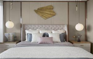 300平米別墅新中式臥室床頭背景墻裝修效果圖