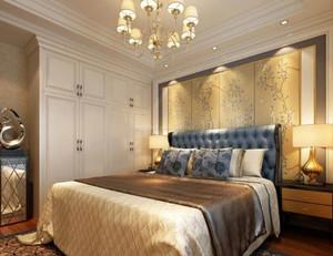 70平米別墅新中式臥室床頭背景墻裝修效果圖