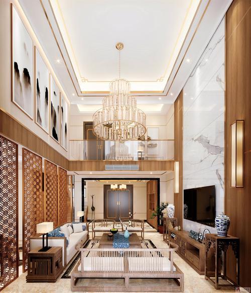 150平米别墅新中式中空客厅装修效果图