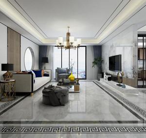 400平方別墅新中式中空客廳裝修效果圖