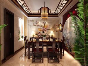 120平方别墅中式餐厅背景墙装修效果图