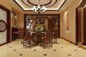 160平米别墅中式餐厅背景墙装修效果图