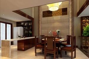 250平方别墅中式餐厅背景墙装修效果图