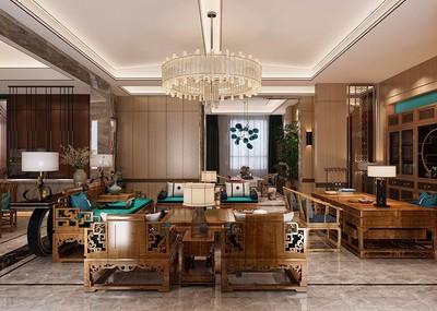 现代简约新中式别墅室内效果图