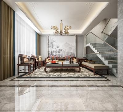 现代简约别墅新中式背景墙效果图