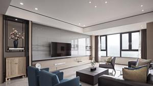 90平米房子別墅新中式挑高背景墻裝修效果圖