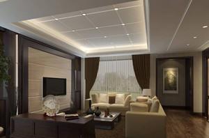 200平米躍層別墅新中式挑高背景墻裝修效果圖