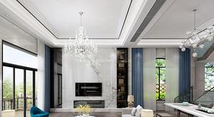 別墅新中式挑高背景墻裝修效果圖