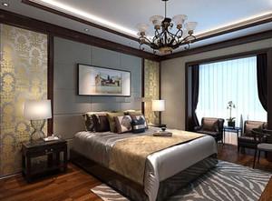 85平小戶型別墅新中式臥室背景墻裝修效果圖