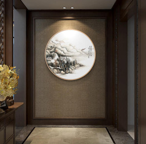 別墅新中式玄關背景墻裝修效果圖