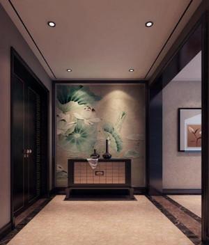360平方躍層別墅新中式玄關背景墻裝修效果圖